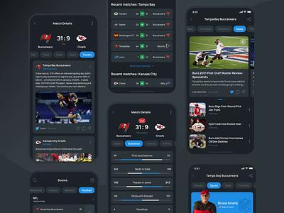 Multi-sport mobile app. Statistic and results feed filters tabs statistic sport mobile cards ios app ux design ui