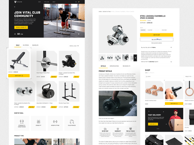 Shopify store redesign. Build your home gym with VitalGym catalog store responsive branding figma website ecommerce fitness sport gym cards ux design ui