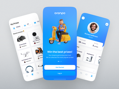Oranpo. Dozens of gifts in your mobile app filters navigation account blue splash mobile cards ios app ux design ui