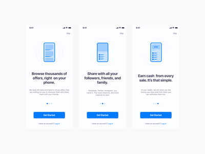 🚀 Onboarding screens for an upcoming app mobile design mobile ui ios onboarding screen mobile app ux design minimal ui