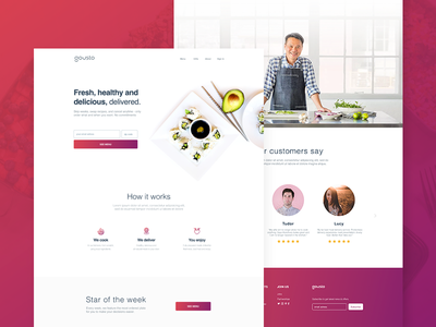Food Delivery Service - Landing Page testimonials fresh modern minimal clean gradients food landing page