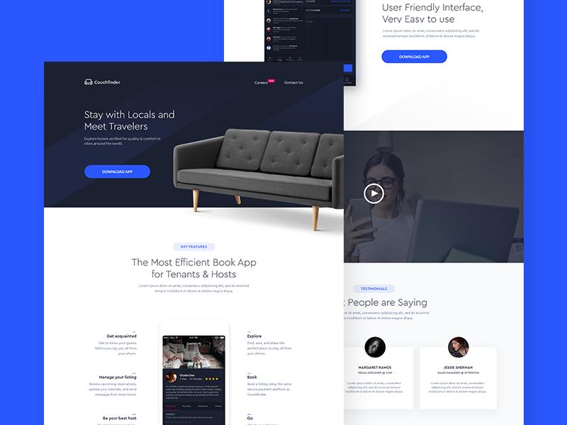 Couchfinder - App Landing Page app website web app user interface colorful flat typography minimal ux ui