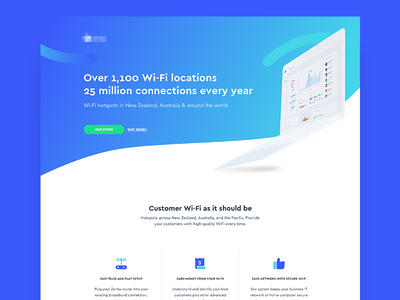 Wi-Fi Network Provider - Landing Page blue wi-fi gradient minimal clean design ui sketch app landing page