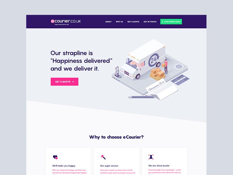 eCourier - Landing Page Header illustration 3d isometric courier gradient minimal clean design ui sketch app landing page