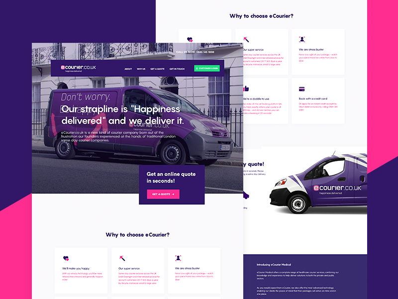 eCourier UK - Landing Page Redesign illustration 3d isometric courier gradient minimal clean design ui sketch app landing page