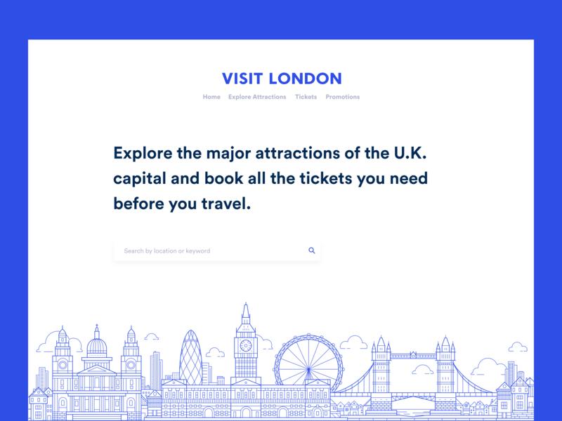 Visit London - Header exploration trendy uk london flat landing page minimal ui