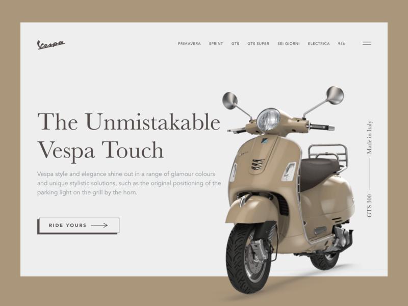 Vespa Header figmadesign figma design landing page minimal ui