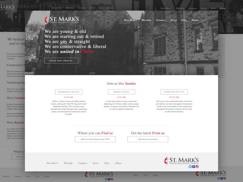 St. Mark's United Methodist Church creative design mobile portfolio responsive ui web website church