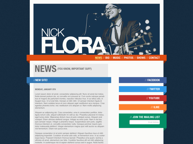 Nick Flora website web ui responsive portfolio mobile design creative band musician