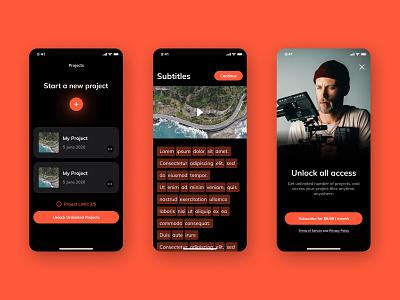 Subtitles App Design appearance app editor video subtitles ui design uidesign uiux mobile app design mobile design mobile app mobile ui mobile design software saas design ux ui