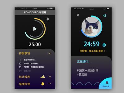 Pomodoro Timer cat cute animal design app ui