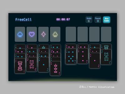 Free Cell Game UI neon lights app dark lights game design ui