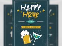 Happy Hour Beers And Cocktails Flyer