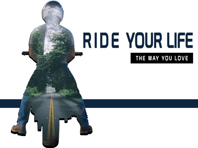 Biker Thought illustration design double exposure