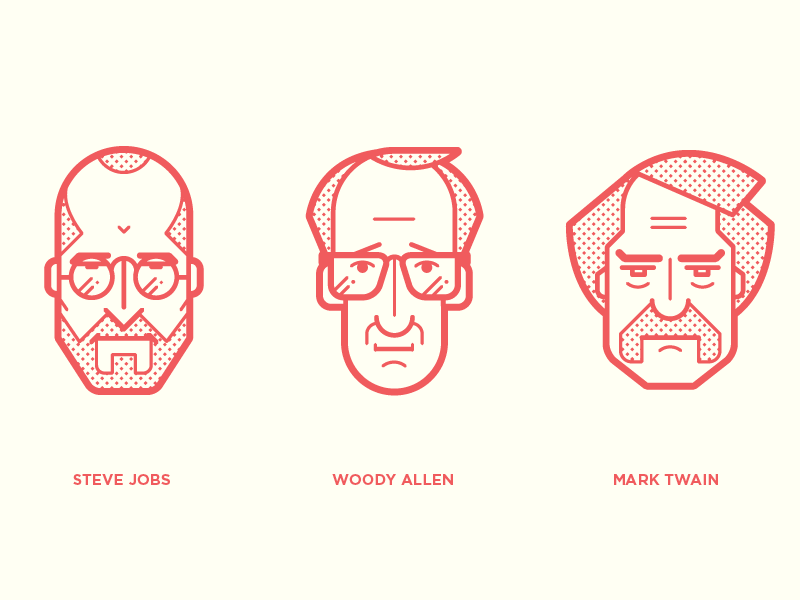 Iconic Portrait steve jobs illustration vector line woody allen mar twain