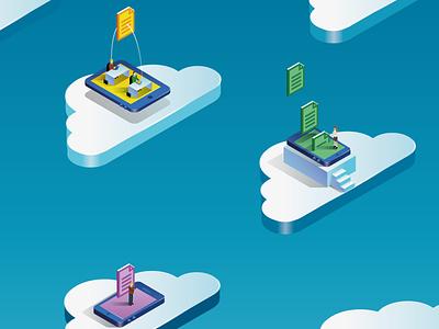 Cloud 2 mobile devices gradient isometric cloud illustration vector