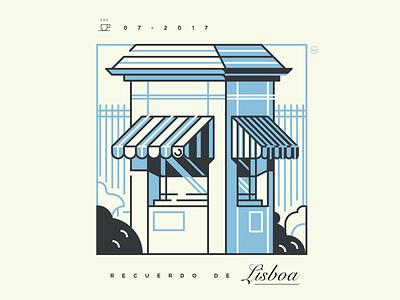Recuedo de Lisboa lisboa travel linear illustration vector