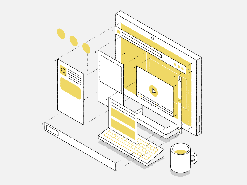 Web Design technical layout design web isometric vector illustration