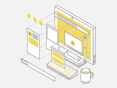 Web Design technical layout design web isometric vector illustration
