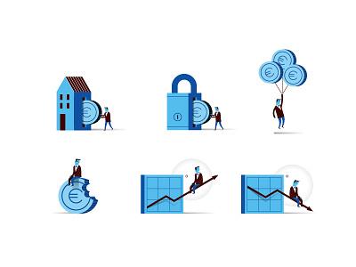 BBVA Economy Icons icon set icon bank financial economy flat vector illustration