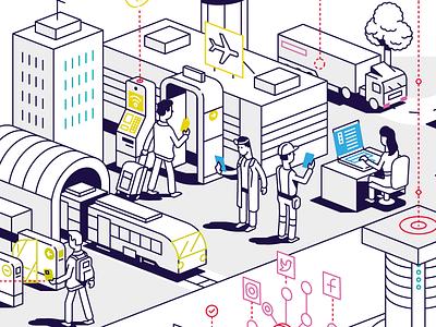 Paragon smart city tech linear isometric vector illustration