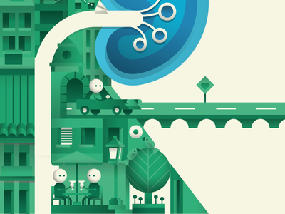 More character scenes city microworld illustration vector