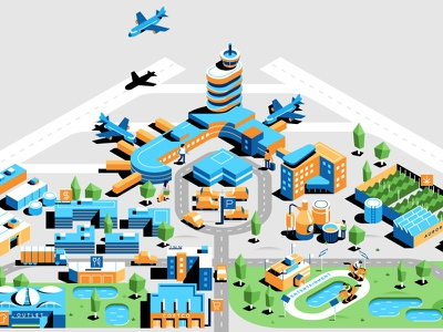 Edmonton Airport Map map design shooping hotel flat icon airport isometric vector maps