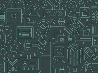 Computer Futures security digital computer tech vector art icons linear illustration vector