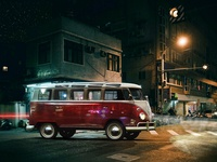 Inserted car in the night street