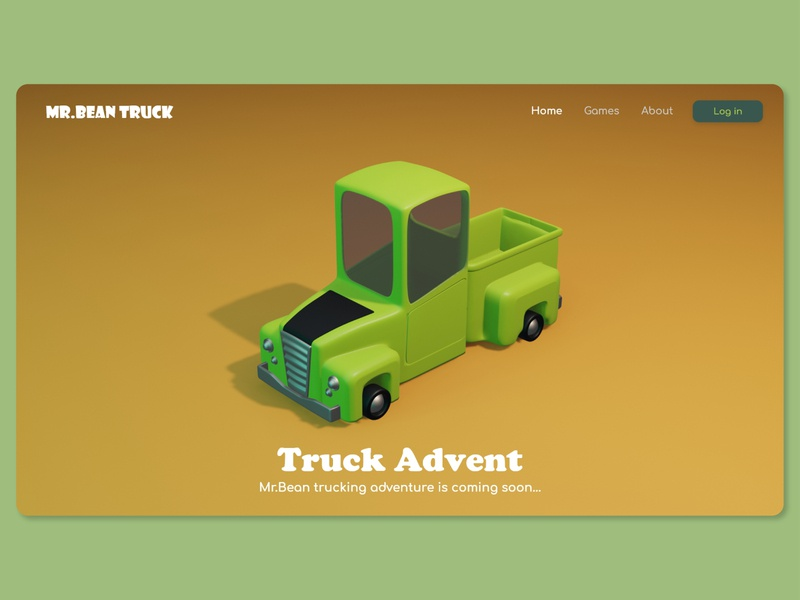 Mr.Bean Truck Adventure truck game bean mr bean 3d landing page 3d website 3d game game concept game concept website concept web design web blender 3d game landing page games web game game website game design adventure