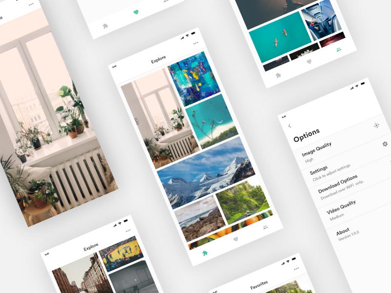 Wallpaper App app minimal ux ui simple white design mobile wallpaper adobe xd