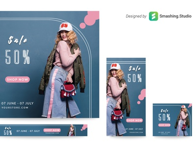 Free Fashion Web Banner Set flat creative clothes clear design banners set banners pack banners agency advertising ads free