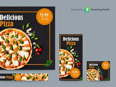 Free Pizza Shop Web Ads Banner Set banner ads pizza freebie banner design banner free