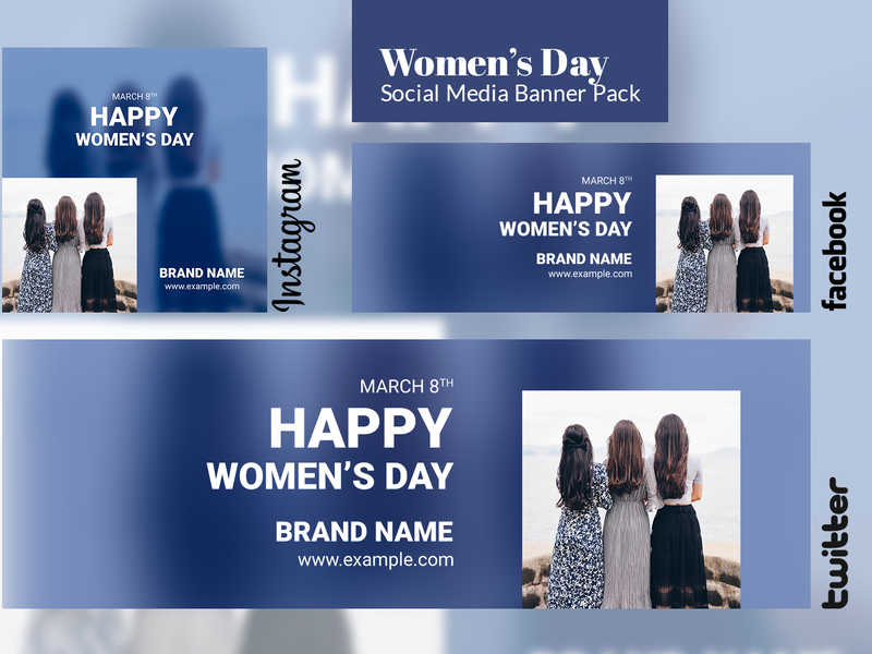 Free - Women's Day Social Media Banner instagam twitter cover timeline facebook freebbble womens day banner ad banner freebie freebee free