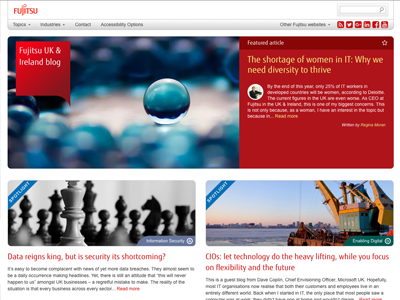 Fujitsu UK tech Blog 2016 red website design blog