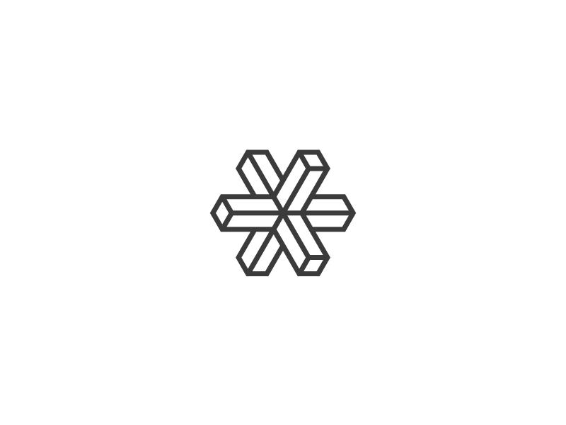 Cross Here illusion 3d x cross symbol identity logomark mark brand logo
