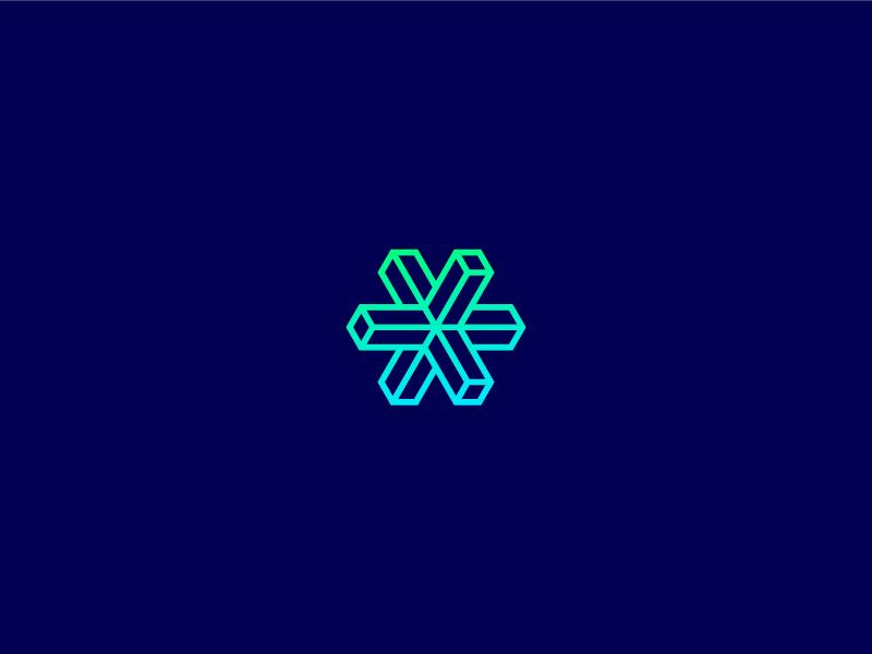 3D Cross optical block cube cross 3d geometric symbol identity brand mark logo