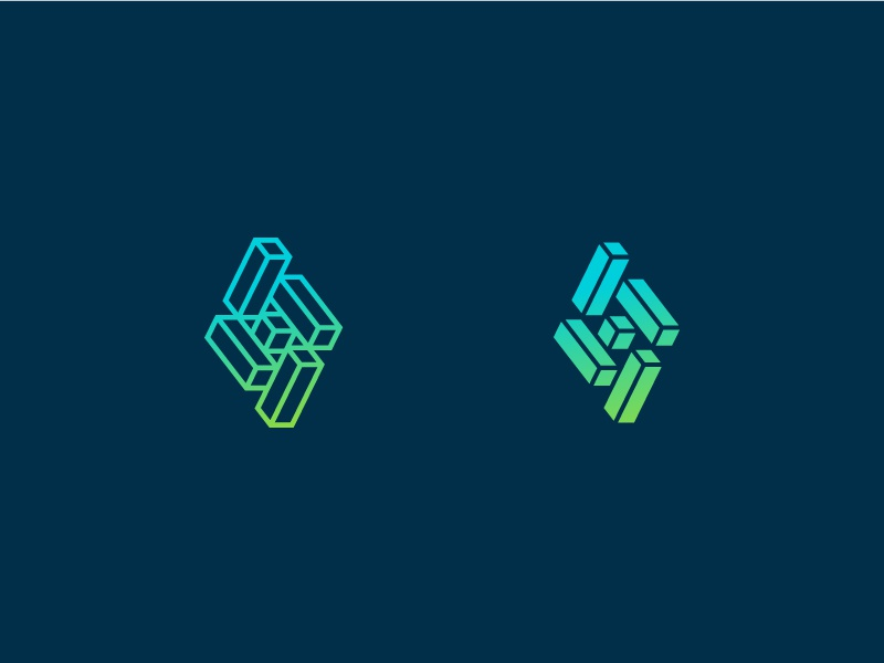 3Di Alt identity mark logo tech outline box geometric block cube letter i 3d