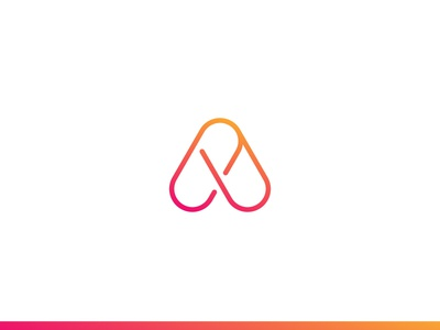A abstract mark gradient connect flow alphabet app letter a identity brand logo