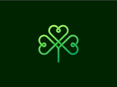 St. Patrick's Day plant flower loop heart green emerald symbol logo ireland clover irish shamrock