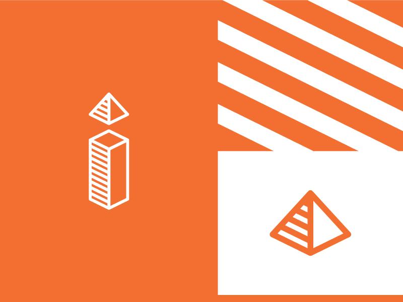 i for impact construction logo logomark brand identity symbol letter i cube 3d building geometric