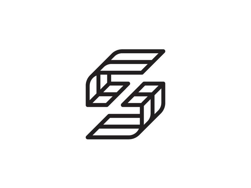 SZ space monogram z s typography lettering geometric symbol mark identity brand logo