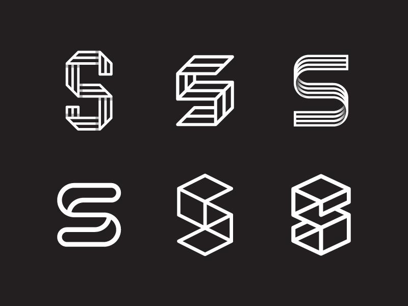 S Variations logo brand identity marks symbol geometric lettering typography s type fold 3d