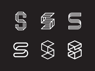 S Variations logo brand identity marks symbol geometric lettering typography s type fold 3d