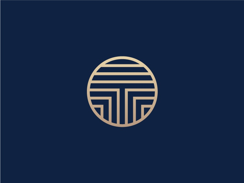 T print design luxury brand circle geometric abstract symbol typography type mark logo