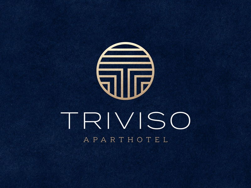 Triviso print design luxury brand circle geometric abstract symbol t typography logo foil