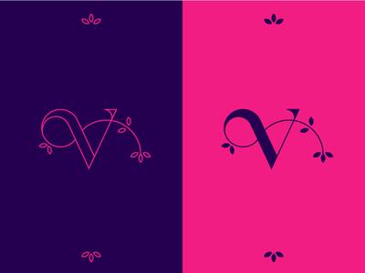 V floral flower icon branding logomark design type identity v letter typography geometric mark symbol brand logo