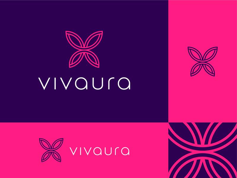 Vivaura Elements typography font minimal icon butterfly wings v logomark branding lettering design type letter identity symbol logo
