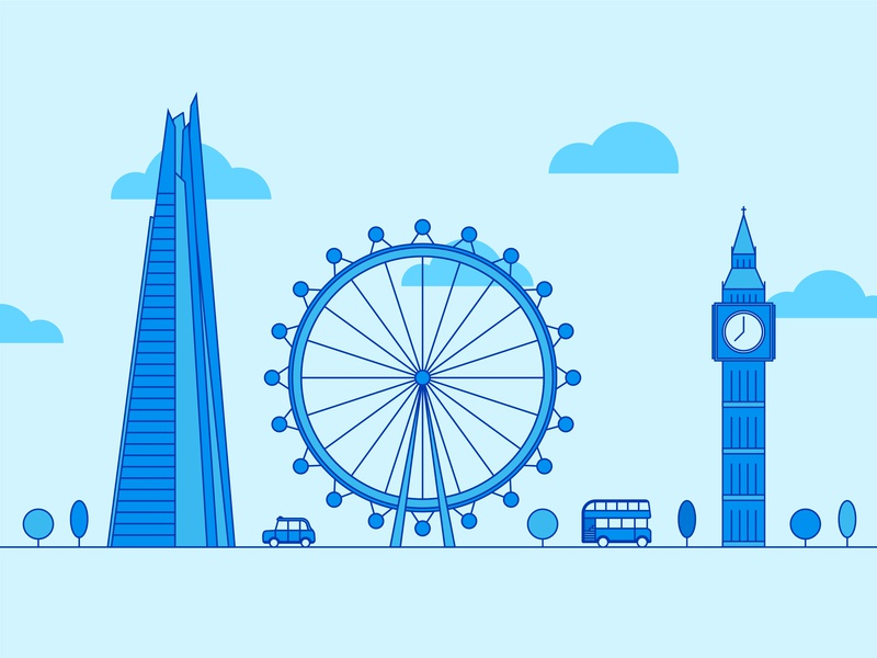 London graphic modern creative visual art landscape building city big ben london eye shard london icon shapes geometric vector design illustration