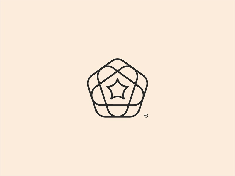 Floral Star pentagon shape star flower line modern creative visual marketing business graphic branding icon design abstract geometric identity symbol brand logo